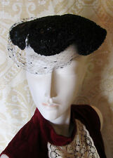 CORALIE Unique Vintage Black Beret Hat With Beaded Accents Fancy Look