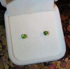 RARE! Genuine Natural Chrome Green Tourmaline 3.7mm yellow gold stud earrings 💚
