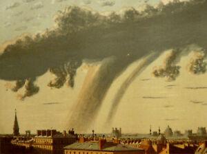 1873 Antique lithograph METEOROLOGY: RAIN over PARIS. Downpour. Meteorological