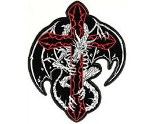 "(L14) Large DRAGON SKELETON ON CROSS 8"" x 10"" iron on back patch (3202)"