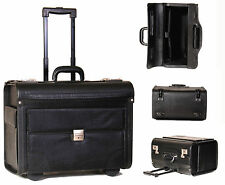 Laptop Pilot Case on Wheels Leather Look Cabin Trolley Bag Black