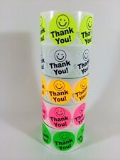 "100 BIG THANK YOU LABEL 2"" Colors 100 SMILEY THANK YOU BEST PRICE FLUORESCENT"