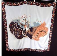 "ERTE COLLECTABLE 1980'S FINE SILK SIGNED SCARF 32""W X 34""L"