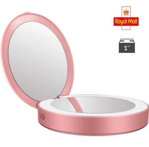 LED Make up Pocket Mirror USB Rechargeable Led Light Makeup Make up Mirror UK