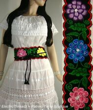 Mexican EMBROIDERED Multi-Color FLOWERS Red Edge WIDE Corset Sash BELT One Size
