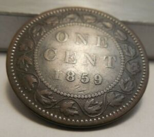 1859 Canada One Cent - Re-Punched Date - DP4