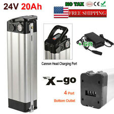 X-GO 24V 20Ah Silver Fish Li-ion E-Bike Battery Pack Fr 250W Motor + Charger Kit