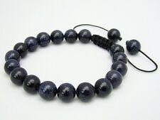 Men's Shamballa bracelet all 10mm  BLUE GOLDSTONE stone beads