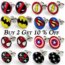 1x Pair Steel Cartoon Superhero Logo Stud Earrings Christmas Gift Jewellery