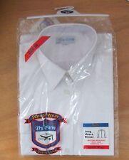 Girls TRU FORM Size 34in Long Sleeve School Uniform Blouse Tie Collar White