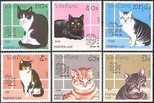 """Laos 1989 Domestic Cats/Pets/Animals/Nature/StampEx/""""India '89""""  6v set (b2733)"""