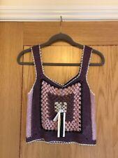 TOPSHOP Purple Pink & Silver Metallic Hand Crochet Vest Top Size XS NEW £42.00