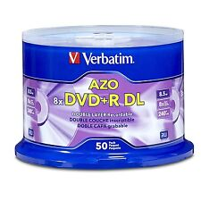 50 Verbatim 8x AZO Logo 8.5GB DVD+R DL Double Layer [FREE USPS Priority Mail]