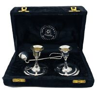 VTG International Silver co. SilverPlated Candlestick Set with Snuffer 1970s
