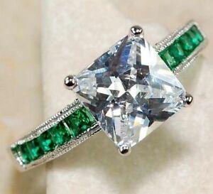 3CT Emerald Quartz & White Topaz 925 Solid Sterling Silver Ring Jewelry Sz 6
