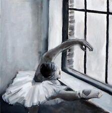 "BALLERINA DANCER FINE ART PRINT SIGNED 12 x 12"""