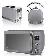 Swan Kitchen Retro Set GREY Digital Microwave,1.7L DOME Kettle & 2 slice Toaster