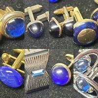 8 PAIRS GOLDTONE BLUE SILVERTONE  CUFF LINKS Retro Vintage MIXED STYLES FASHION