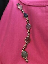 Vintage Sterling Link 5 Glass Gemstone Carved Scarab Bracelet