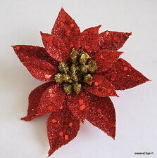 """3.5"""" Red Glitter Poinsettia Flower Hair Clip,Pin Up,Updo,Christmas Star,Holiday"""