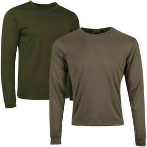 British Army Thermal Vest Base Layer Long Sleeve Top Olive Green Undershirt