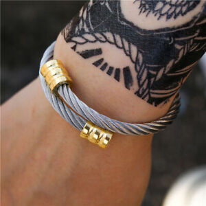Classical Men Cube Round Bracelet Handmade Stainless Steel Open Bangles Jewelry