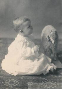 1909 Little Girl Harriet Plays Steiff Sheep Pull toy