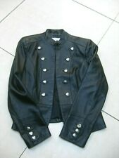 Ladies NEXT black real leather JACKET military cavalry steampunk size UK 12 10
