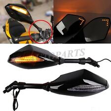 Motorcycle Chooper Front Back LED Turn Signals Indicator Rearview Mirrors SMOKE