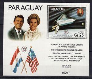 Paraguay - Space - Ronald Reagan - Washington - timbres MNH** Del.10