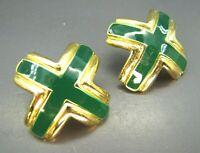 """Vintage GOLD TONE """"X"""" SHAPED EARRINGS Emerald Green Enamel AVANT GARDE Classy!"""