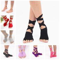 Non Slip Long Strap Cotton Boat Short Toe Five Fingers Yoga Fitness Dance Sock