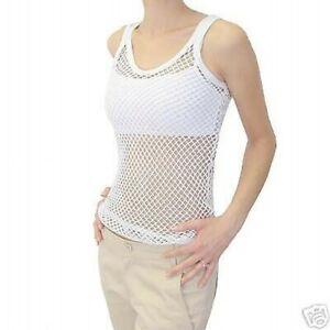100% Cotton 'Jungle' White String Vest / Top - Size Small - BRAND NEW