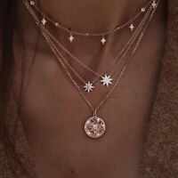 Bohemia Multilayer Gold Chain Choker Necklace Women Star Moon Pendant Jewelry