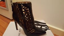 ***BRAND NEW IN BOX NINE WEST BLACK LEATHER TOO CUTE BOOTS HEELS SIZE 5***