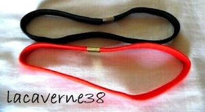 Lot 2 élastiques noir + rouge accessoire cheveux serre tête homme femme enfant
