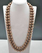 8mm Natural Brown South Sea Shell Pearl Round Beads Necklace 36'' Long