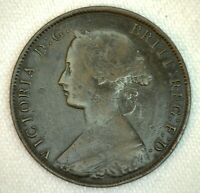 1862 Great Britain 1/2 Penny Coin Very Fine Bronze