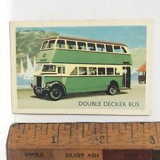 1960s BRITISH LEYLAND DOUBLE DECKER BUS GREEN & CREAM AUSSIE TRADING CARD EXC!!!
