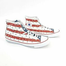 Converse CTAS Hi Top Studded USA Flag Red White Blue Sneakers M 4.5 W  6.5