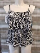 Swim Solutions Black White Print Tiered Triple Tier Tankini Top $65 NWT XL 16