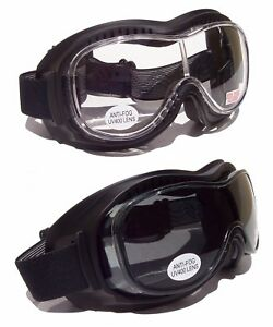 GOLIATH OTG [Over The Glasses] Motorcycle Biker Goggles| Clear+Tinted Lenses