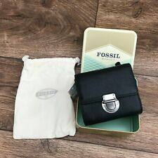 FOSSIL RILEY BLACK LEATHER SMALL FLAP WALLET PURSE WITH DUST BAG & TIN