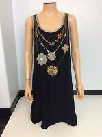 MATTHEW WILLIAMSON black 100% Silk Dress With Beads Size Uk 8 Women's Vgc