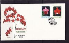 Jersey  enveloppe  noel flore fleurs  orchidées   1984