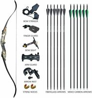 "D&Q 56"" Archery Takedown Recurve Bow Hunting Bow and Arrow Set Adult Target"