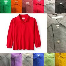 George Boys School Uniforms Long Sleeve Pique Polo Shirt size color options