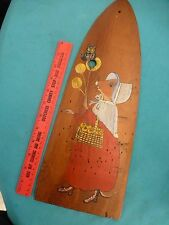 vintage folk art pelt drying Mrs. Mouse balloons wooden propeller fan plane wing
