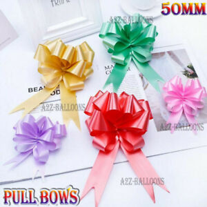 LARGE PULL BOWS 50mm QUALITY Wedding Car Gift Wrap Xmas Party Poly Floristry Bow