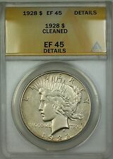 1928 Peace Silver Dollar $1 Coin ANACS EF-45 Details Cleaned